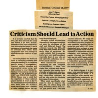Criticism Should Lead to Action
