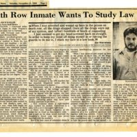 Death Row Inmate Wants To Study Law
